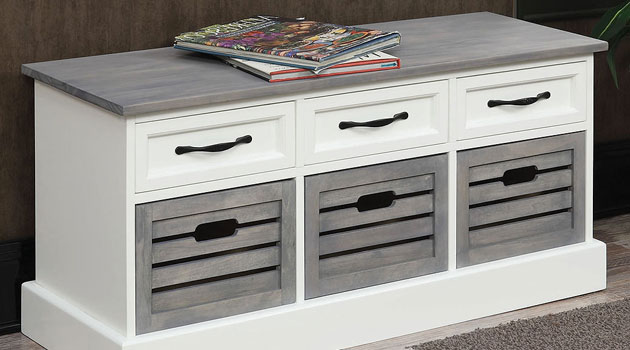 White and Gray Wood Accent Cabinet